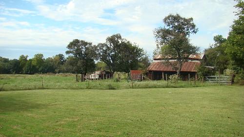 old blue green barn landscape