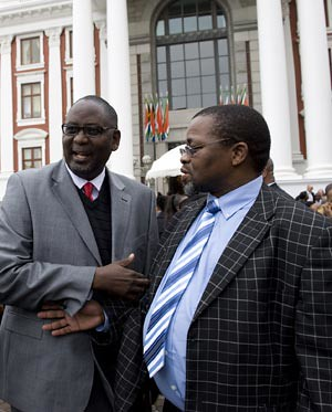 Cosatu General Secretary Zwelinzima Vavi and ANC General Secretary Gwede Mantashe. The trade union federation and the ruling party, along with the SACP, have maintained an alliance since the independence of the Republic of South Africa in 1994. by Pan-African News Wire File Photos