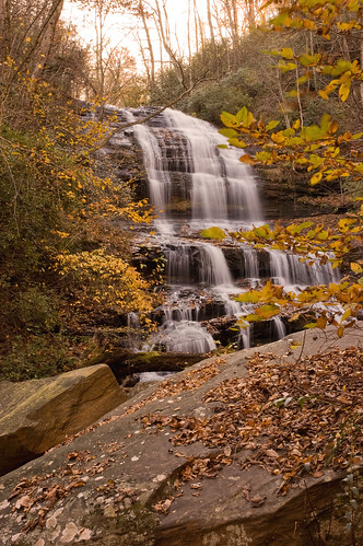 autumn fall leaves waterfall rocks northcarolina saluda tryon pearsonsfalls tryongardenclub
