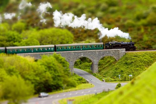 Swanage Model Steam Railway approaching Corfe