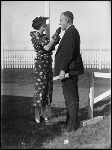 Man and woman at Warwick Farm racecourse