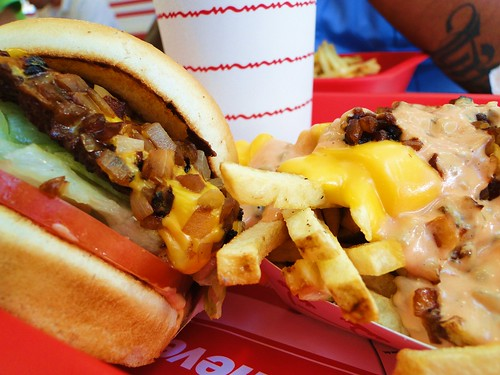 In-N-Out Cheeseburger with grilled onions and Animal Style Fries