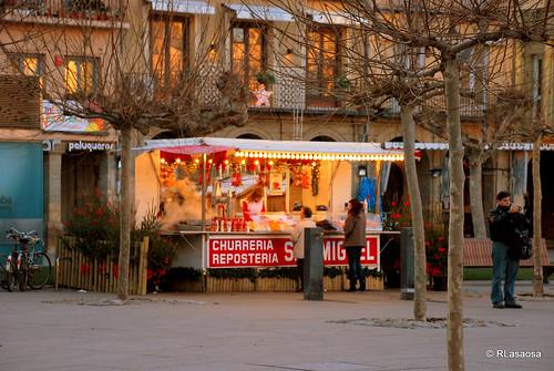 Churrería ambulante colocada en la Plaza del Castillo