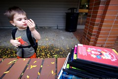 enjoying his halloween candy c/o the lake oswego pub…