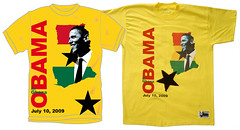 Obama in Ghana - The design and the real T-shirt