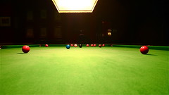 recreation(0.0), nine-ball(0.0), cue stick(0.0), carom billiards(0.0), english billiards(0.0), pocket billiards(1.0), indoor games and sports(1.0), individual sports(1.0), billiard room(1.0), snooker(1.0), sports(1.0), billiard table(1.0), recreation room(1.0), games(1.0), green(1.0), cue sports(1.0),