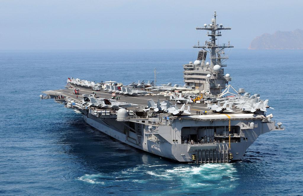 USS George H.W. Bush departs Cartagena, Spain.
