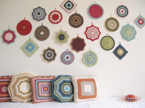 crochet potholder wall art and granny cushions