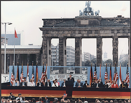 President Reagan Giving a Speech at the Berlin Wall, Brandenburg Gate, Federal Republic of Germany, 06/12/1987