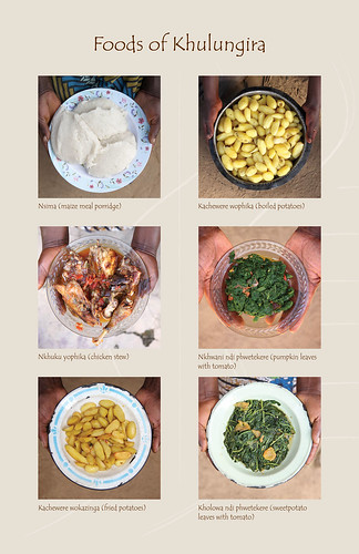 Foods of Khulungira: Maize meal (ugali), boiled potatoes, chicken stew, pumpkin leaves, fried potatoes and sweet potatoes
