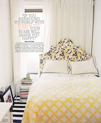 Ideas for small spaces: Lovely yellow + white + black bedroom
