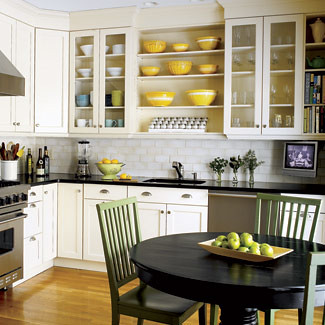 Cheerful Kitchen White Cabinets Open Shelves Stainless Steel