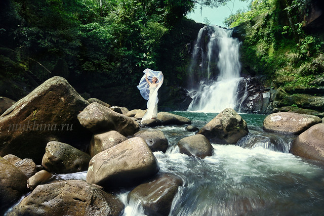 Bride at Costa Rica Rainforest Waterfall