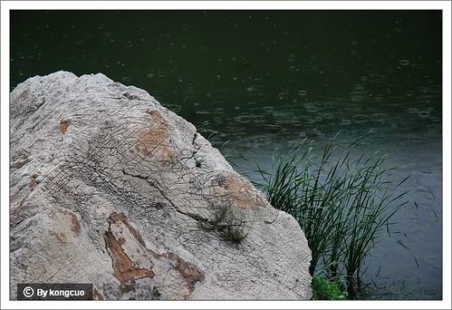 徒步沿河城-幽州-永定河峡谷-溪水边的石灰岩