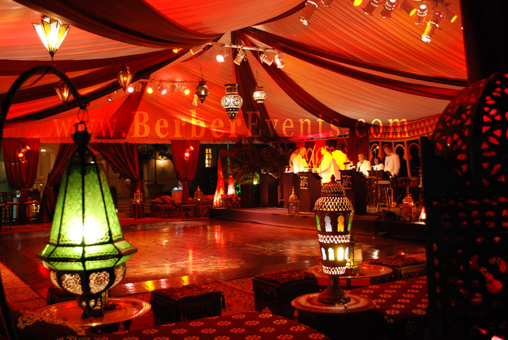 Moroccan themed wedding after dinner moroccan tent party for Arabian tent decoration