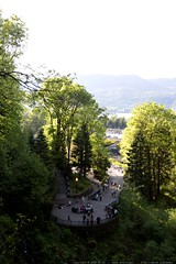 view from halfway up multnomah falls