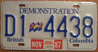 BRITISH COLUMBIA 1987, DEALER plate
