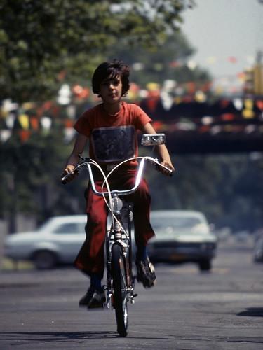 John on Banana Seat Bicycle 1977 Brooklyn 70s Kodachrome