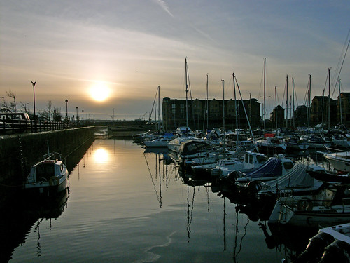 Winter sunset, Liverpool marina