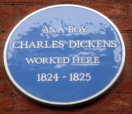 Charles Dickens blue plaque - As a boy  Charles Dickens  worked here  1824 - 1825