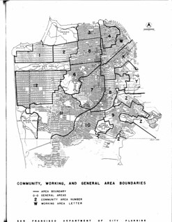 Community, working, and general area boundaries (San Francisco Department of City Planning, 1951)