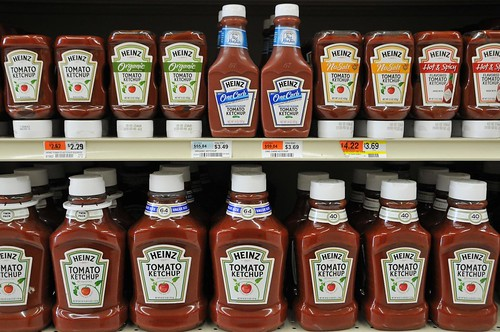 Bottles of ketchup at the grocery store