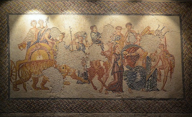 Mosaic panel depiciting the Triumph of Bacchus, from the Villa Torre de Palma near Monforte, 3rd-4th century AD, National Archaeology Museum of Lisbon, Portugal