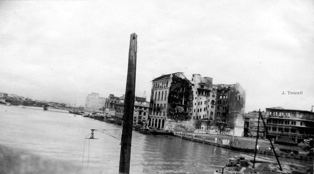 Looking west down the Pasig River from the MacArthur bridge 1945