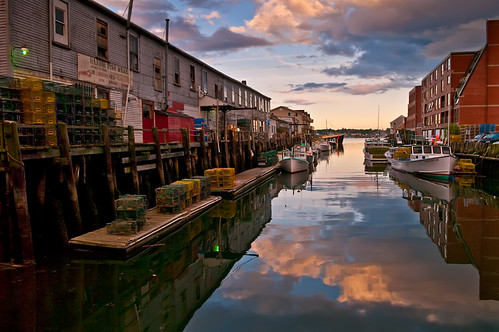 blue sunset sky brick clouds portland landscape boats harbor fishing maine lobster quaint traps reflectionlovers