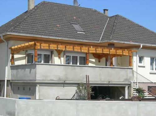 Charpente Alsace  terrasse bois de sapin 597  Cette photo