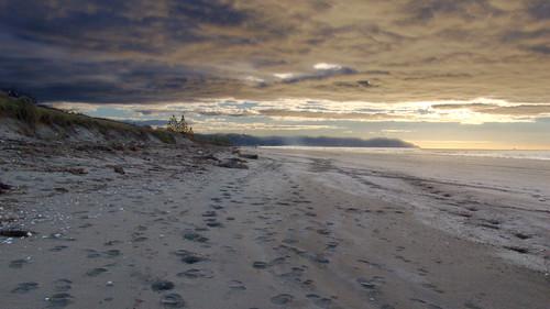 ocean sunset sea newzealand sky seascape beach water clouds landscape sand footprints aotearoa hdr bayofplenty