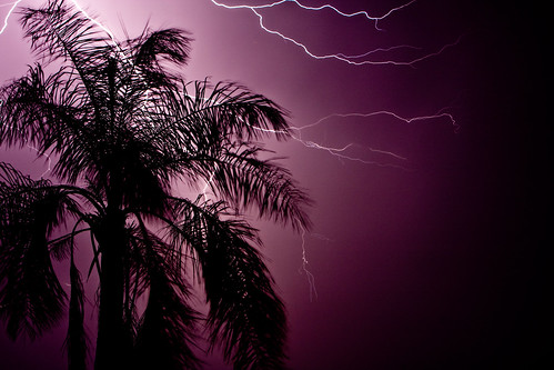 Lightning Dark purple sky