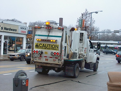 Village of Oak Park Illinois side loading garbage truck heading westbound on Chicago Avenue. Oak Park Illinois. December 2006. by Eddie from Chicago