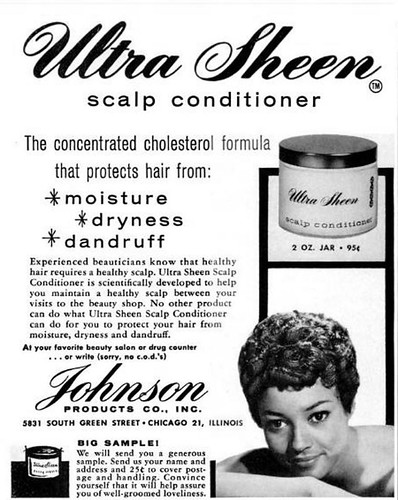 Ultra Sheen Scalp Conditioner by Johnson Products Company Advertisement - Ebony Magazine, November, 1959