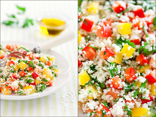 Couscous and paprika salad with lemon dressing