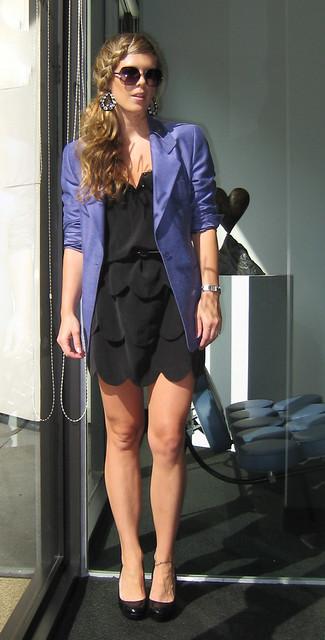 purple blazer little black dress french braid www