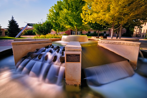 city longexposure urban bw sculpture art fountain scott nikon colorado university searchthebest fort fortcollins engineering nd photowalk co collins 2009 csu ftc larimer kelby d300 coloradostateuniversity july18 photowalking clff tokina1116 worldwidephotowalk elwoodmead