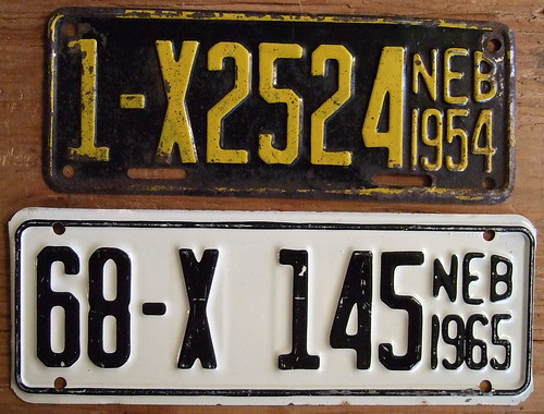 NEBRASKA 1954 and 1965 ---TRAILER LICENSE plates