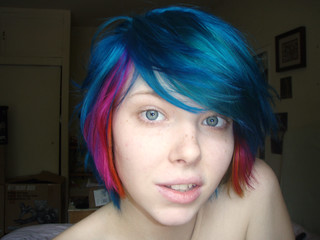 blue pink and orange hair