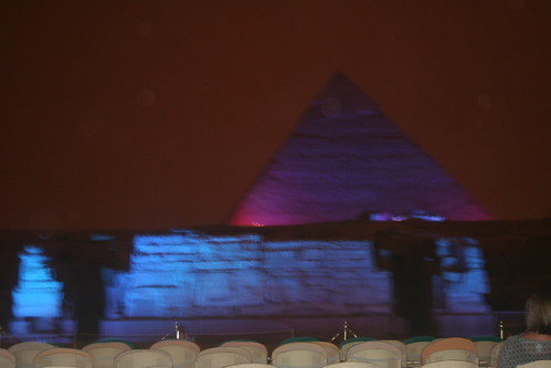 A light show at night on the Nile River at Giza.