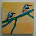 """Encaustic Wax Painting  """"Two Birds on a Fabric Branch"""" by dontorbitme"""
