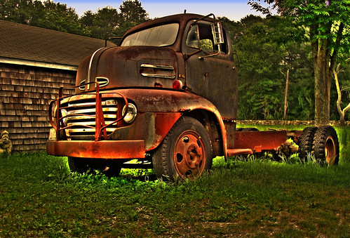 old red truck big hdr westportriversvineyard