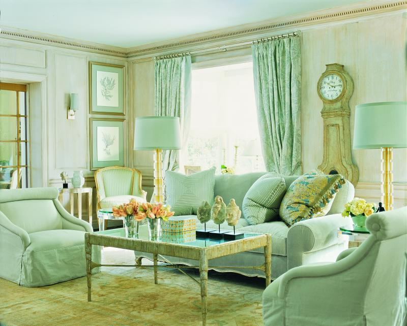Things that inspire nancy corzine for Mint green living room designs