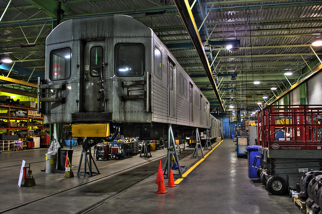 Subway car elevated for repair