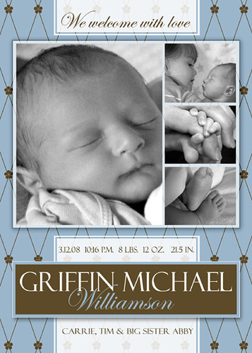 free photoshop template - boy birth announcement