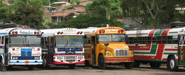 Buses at the station in Rivas, Nicaragua