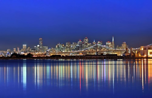 sf sanfrancisco california above city bridge blue urban usa black color reflection water northerncalifornia skyline architecture night america dark bay lowlight nikon october view over structure baybridge bayarea eastbay bluehour d200 80 alameda 2009 alamedacounty sanfranciscocounty longexposue