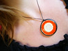 Pumpkin Orange and Sparkly White Pendant or Necklace Stoneware clay and Recycled glass by artisanclay