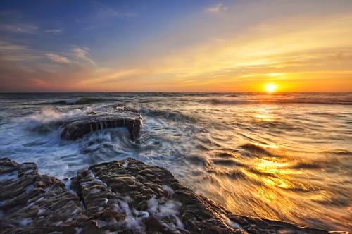 ocean california sunset sea sky sun seascape water rock clouds coast waves pacific sandiego lajolla coastal reef hightide 5foot ripcurrent oceanscape