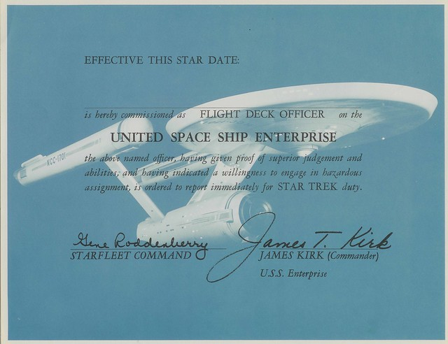 USS Enterprise Flight Deck Certificate